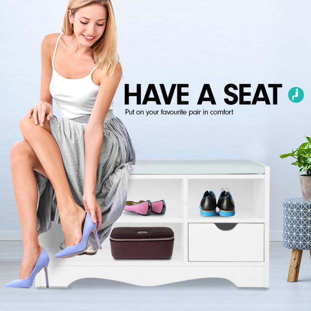 Shoe Rack Cabinet Organiser Grey Cushion - 80 x 30 x 45 - White Image 5