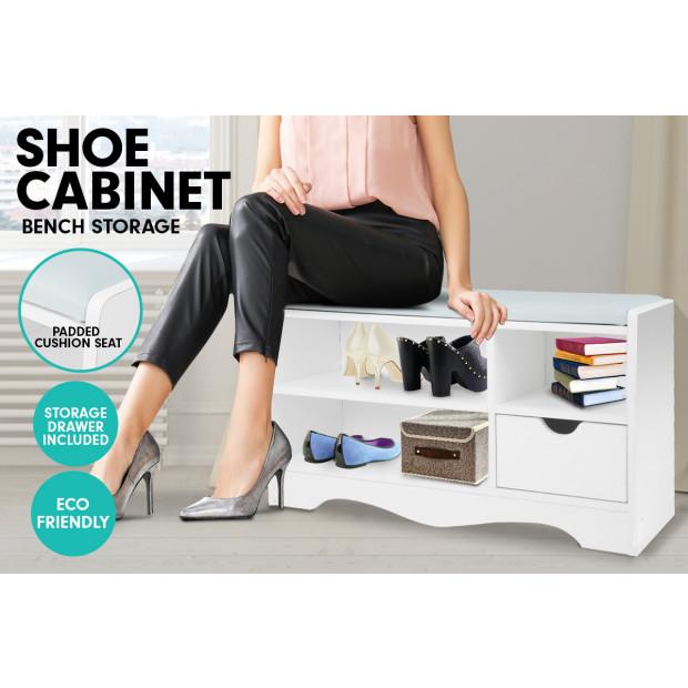 Shoe Rack Cabinet Organiser Grey Cushion - 80 x 30 x 45 - White Image 6