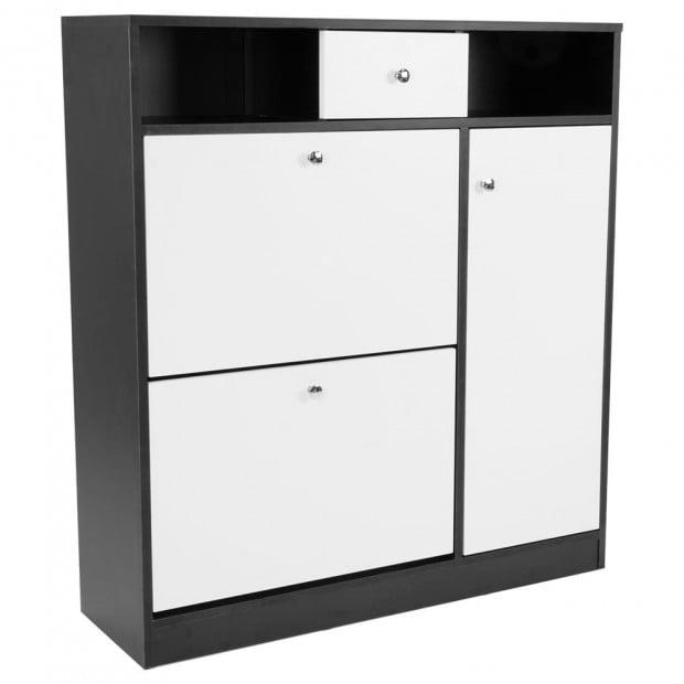 Shoe Rack Cabinet Wooden Storage Organiser Shelf Cupboard Drawer