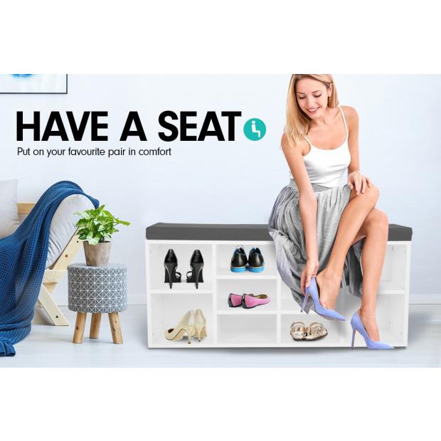 Shoe Rack Cabinet Organiser Grey Cushion - 104 x 30 x 45 - White Image 5
