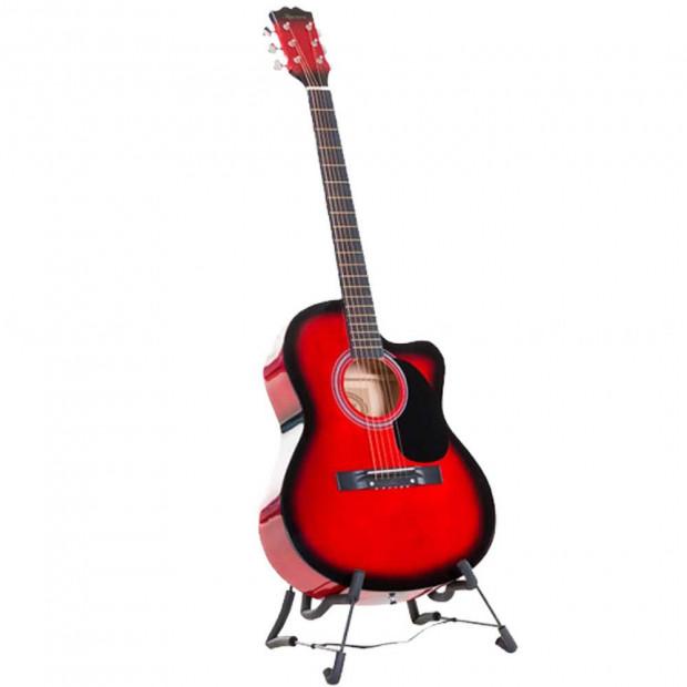 Karrera 38in Pro Cutaway Acoustic Guitar with guitar bag - Red Burst