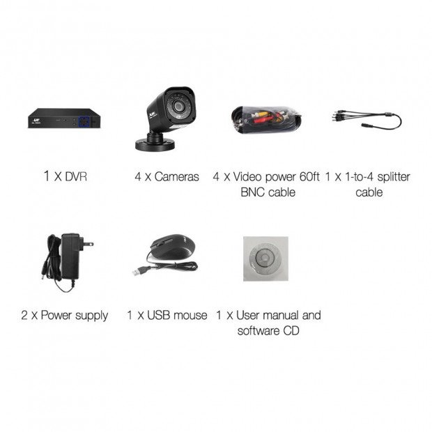 UL-TECH 4CH 5 IN 1 DVR CCTV Security System Video Recorder 4 Cameras Image 4