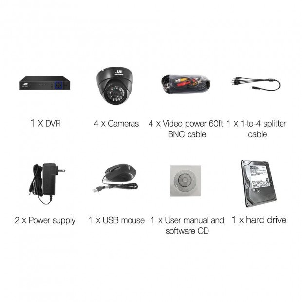 UL-Tech CCTV Security System 2TB 8CH DVR 1080P 4 Camera Sets Image 4