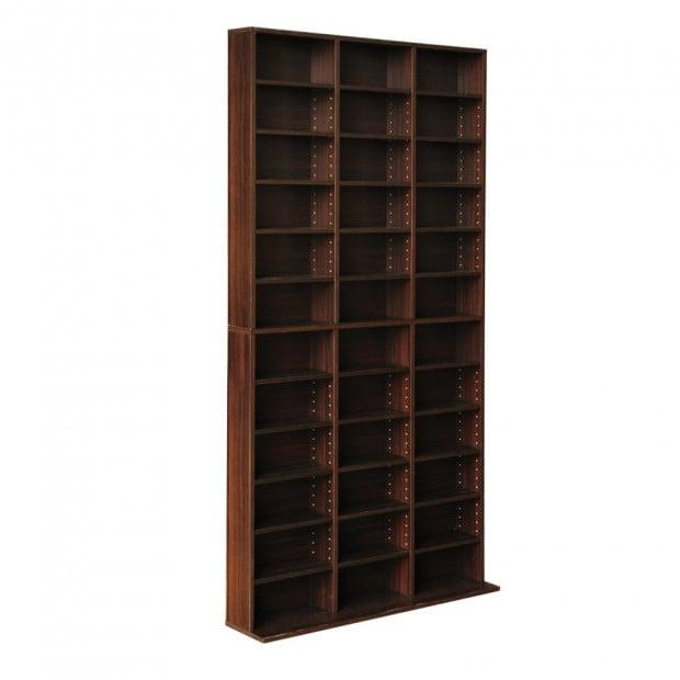 Adjustable CD DVD Book Storage Shelf Brown
