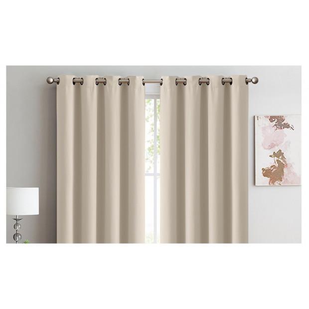 2x 100% Blockout Curtains Panels 3 Layers Eyelet Beige 180x230cm