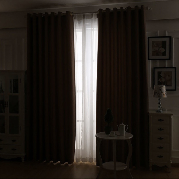 2x 100% Blockout Curtains Panels 3 Layers Eyelet Black 240x230cm Image 3