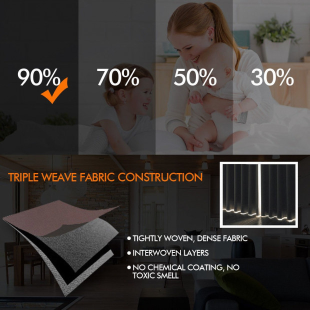 2x 100% Blockout Curtains Panels 3 Layers Eyelet Black 240x230cm Image 2