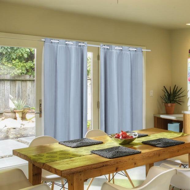 2x Blockout Curtains Panels With Gauze 9 Size Aqua