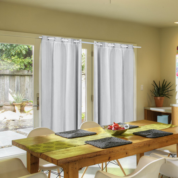 2x Blockout Curtains Panels With Gauze 9 Size Grey
