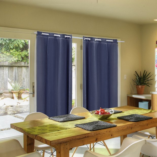 2x Blockout Curtains Panels With Gauze 9 Size Navy Blue