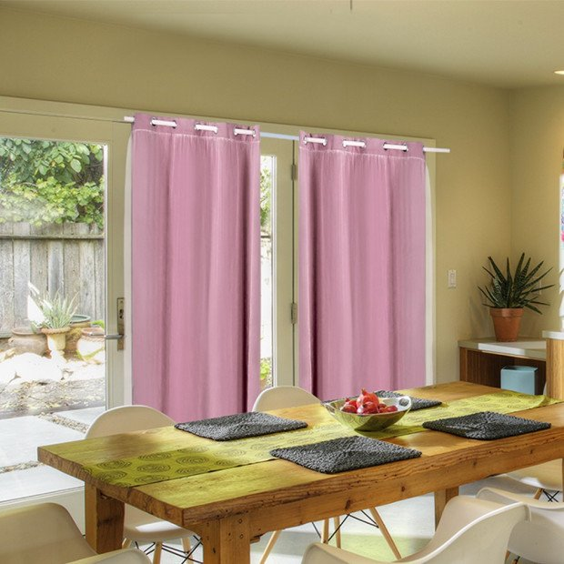 2x Blockout Curtains Panels With Gauze 9 Size Rose Blush