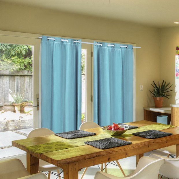 2x Blockout Curtains Panels With Gauze 9 Size Turquoise