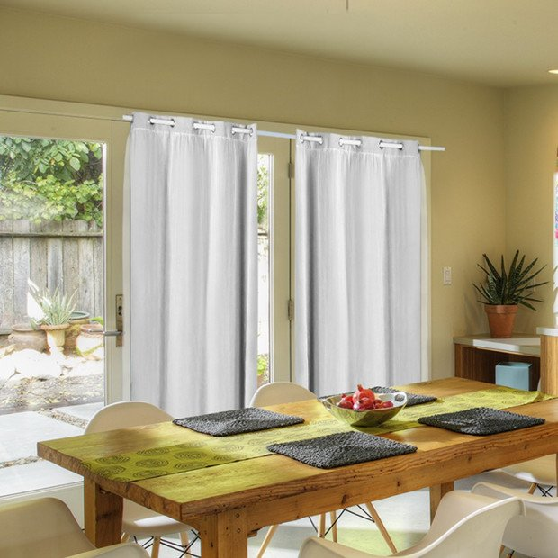 2x Blockout Curtains Panels With Gauze 9 Size Winter White
