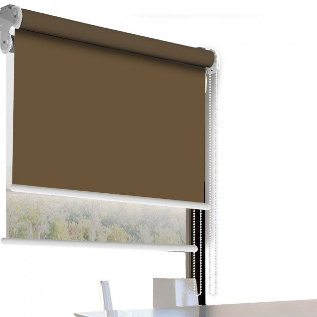 Modern Style Double Roller Blind 120x210 Cm Albaster And White Colour