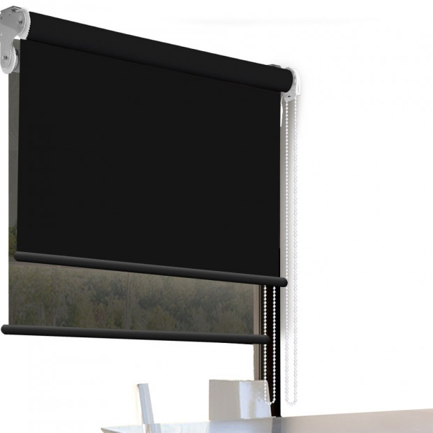 Modern Style Double Roller Blind  60x210 Cm In Black And Black Colour