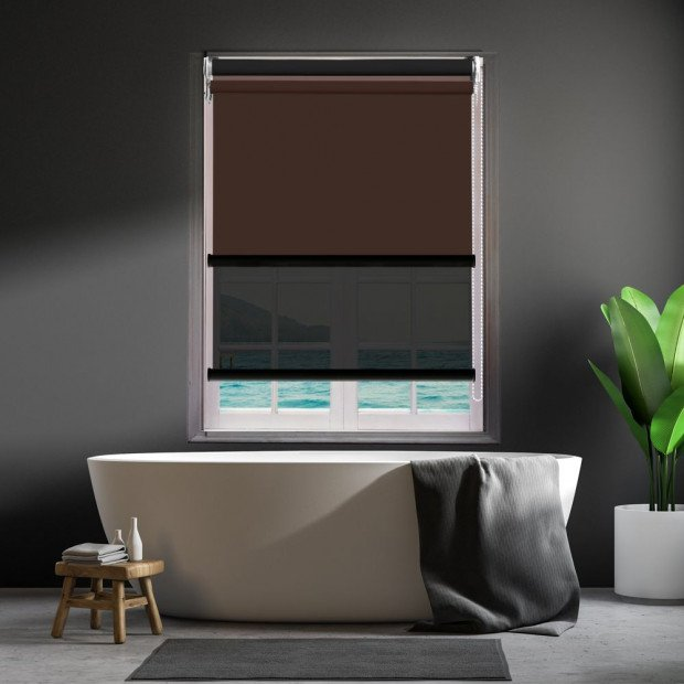 Modern Style Double Roller Blind 180x210 Cm In Coffee And Black Colour