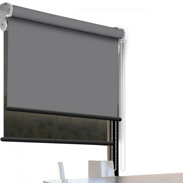 Modern Style Double Roller Blind 180x210 Cm Charcoal And Black Colour