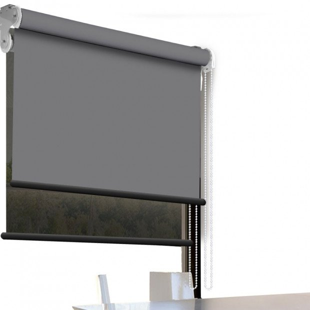Modern Style Double Roller Blind 60x210 Cm Charcoal And Black Colour