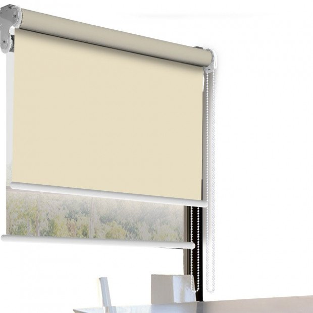 Modern Style Double Roller Blind 150x210 Cm In Cream And White Colour