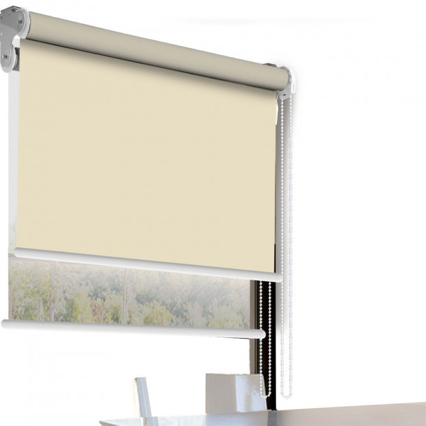 Modern Style Double Roller Blind  120x210 Cm In Cream And White Colour