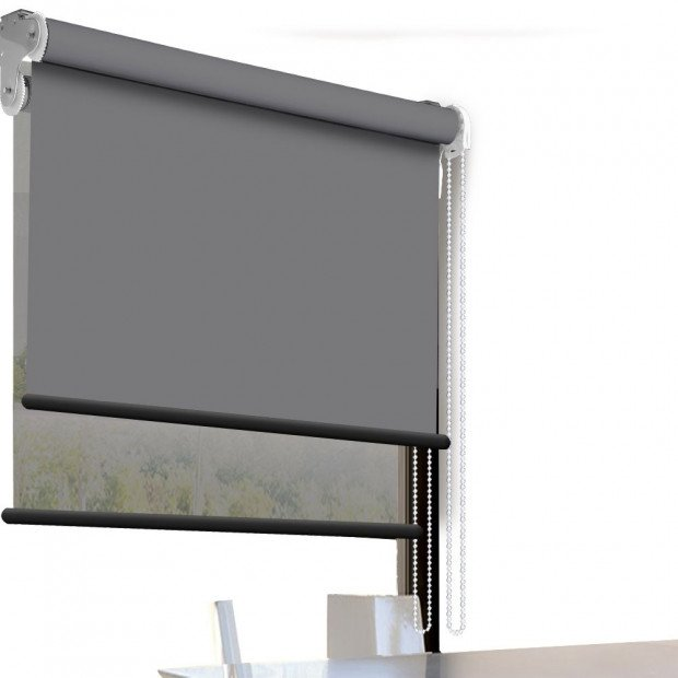 Modern Style Double Roller Blind  90x210 Cm In Grey And Grey Colour