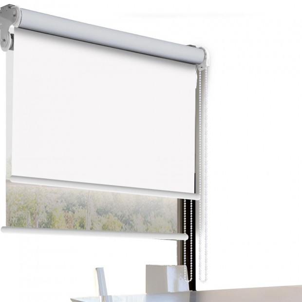Modern Style Double Roller Blind  60x210 Cm In White And White Colour