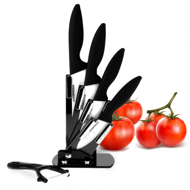 6pc White ceramic kitchen knife set