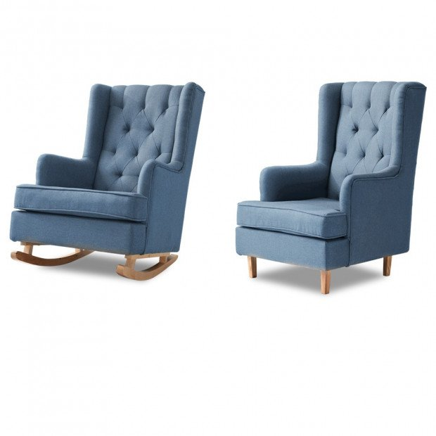 Rocking Armchair Fabric Padded Recliner Lounge Blue