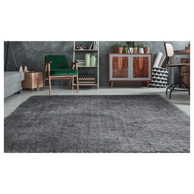 Luxury Soft Plush Thick Rectangle Shaggy Floor Rug Charcoal 160x225cm Image 2