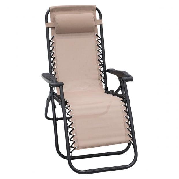 Zero Gravity Reclining Deck Chair - Beige