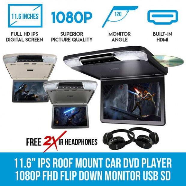 11.6in Ips Roof Mount Car Dvd Player Slim 1080p Flip Down Monitor Grey