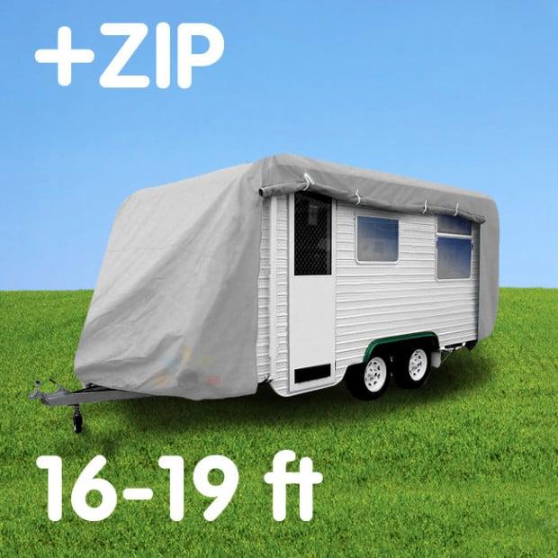 Caravan cover with zip: 16-19 ft