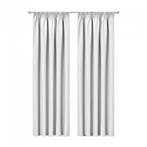 Artqueen 2X Pinch Pleat Pleated Blockout Curtains White 140cmx213cm