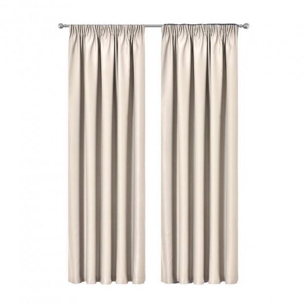 Artqueen 2X Pinch Pleat Pleated Blockout Curtains Sand 180cmx230cm