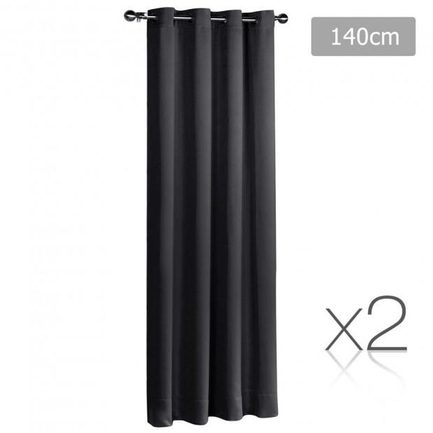 Set of 2 ArtQueen 3 Pass Eyelet Blockout Curtain Black 140cm