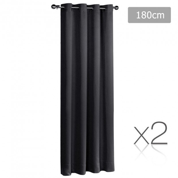 Art Queen 2 Panel 180 x 230cm Block Out Curtains - Black