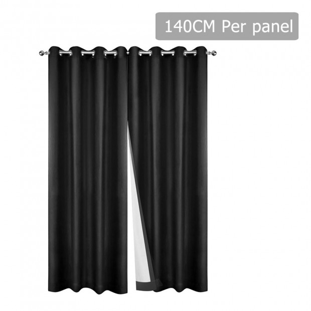 Art Queen 2 Panel 140 x 230cm Eyelet Blockout Curtains - Black