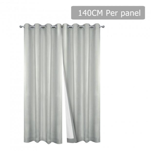 Art Queen 2 Panel 140 x 230cm Eyelet Blockout Curtains - Ecru