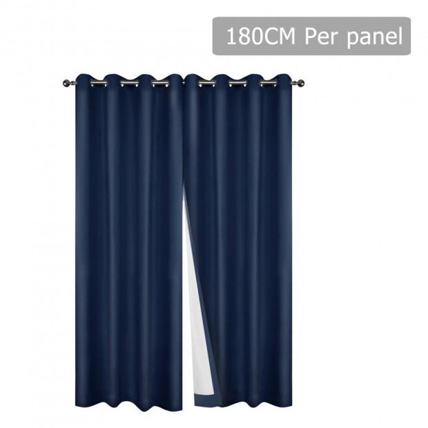 Art Queen 2 Panel 180 x 230cm Eyelet Blockout Curtains - Navy