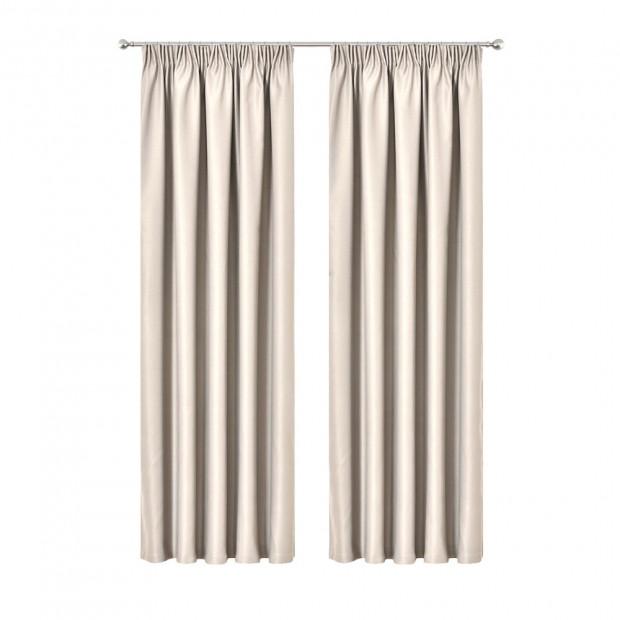 Art Queen 2 Pencil Pleat 180x230cm Blockout Curtains - Sand