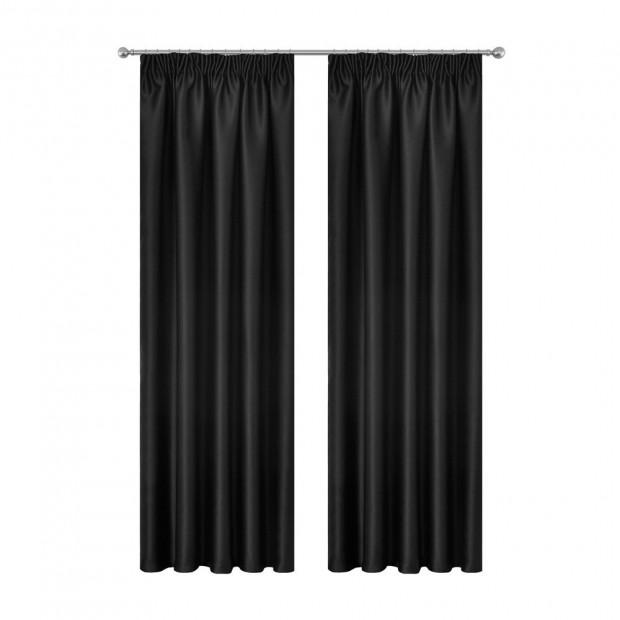 Art Queen 2 Pencil Pleat 240x230cm Blockout Curtains - Black