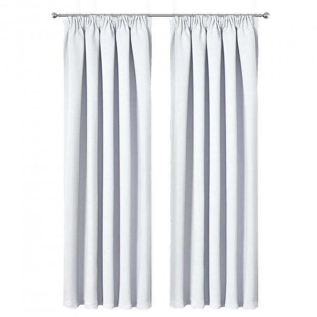 Art Queen 2 Pencil Pleat 240x230cm Blockout Curtains - White