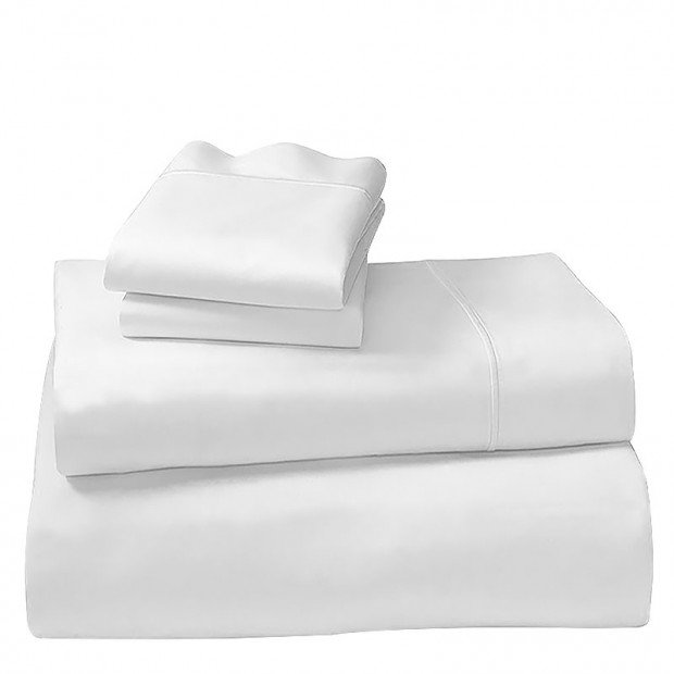 1000tc Cotton Rich King Sheet Set - White