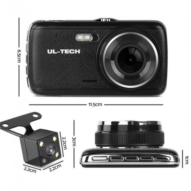 UL Tech 4 Inch Dual Camera Dash Camera - Black Image 1