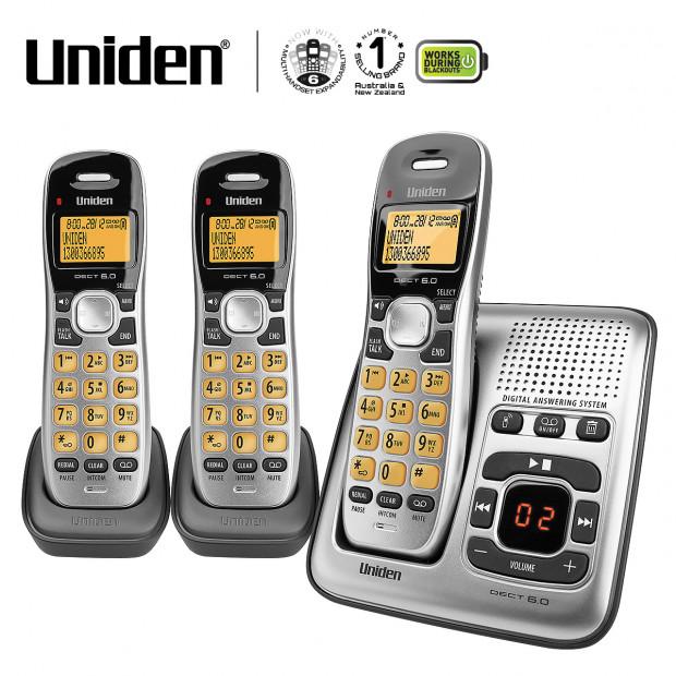 Uniden Dect Triple Set Cordless Phone with Digital Machine 1735 + 2