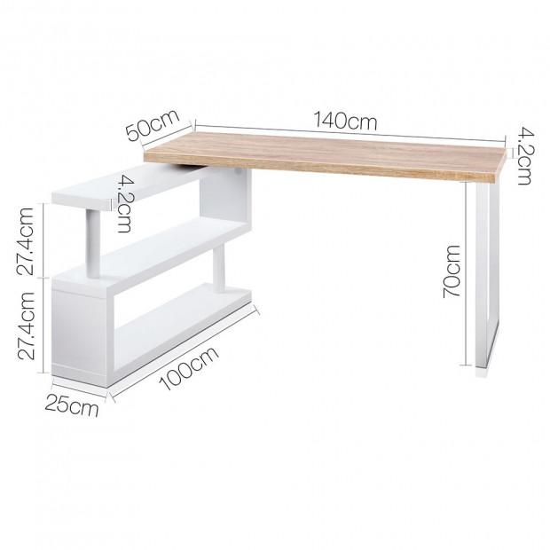 Corner Desk with Bookshelf - Brown & White Image 1