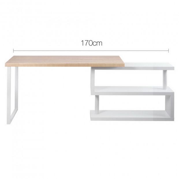 Corner Desk with Bookshelf - Brown & White Image 2
