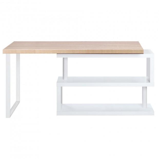 Corner Desk with Bookshelf - Brown & White Image 3