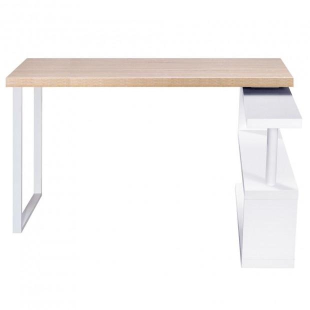Corner Desk with Bookshelf - Brown & White Image 4