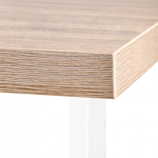 Corner Desk with Bookshelf - Brown & White Image 6